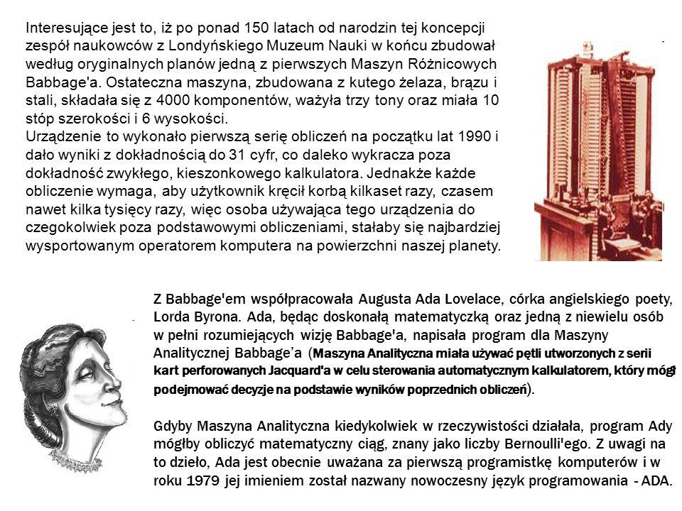 1847 do 1854 - George Boole wymyśla Algebrę Boole a 1857 – Wheatstone używa taśmy papierowej do przechowywania danych Do roku 1858 nadajnik wykorzystujący papierową taśmę Morse a mógł pracować z szybkością do 100 słów na minutę.