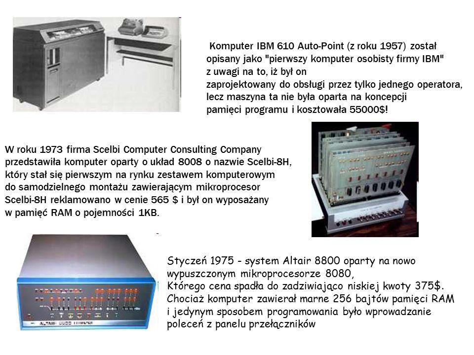 W kwietniu 1975 Bill Gates i Paul Allen założyli firmę Microsoft W marcu 1976 dwóch facetów o nazwiskach Steve Woźniak i Steve Jobs (którzy rozgorzeli entuzjazmem do komputera Altair 8800) skończyło pracę nad komputerem domowej roboty opartym o układ 6502, który nazwali Apple 1 (kilka tygodni później w dniu Prima Aprilis utworzyli oni firmę Apple Computer Company).