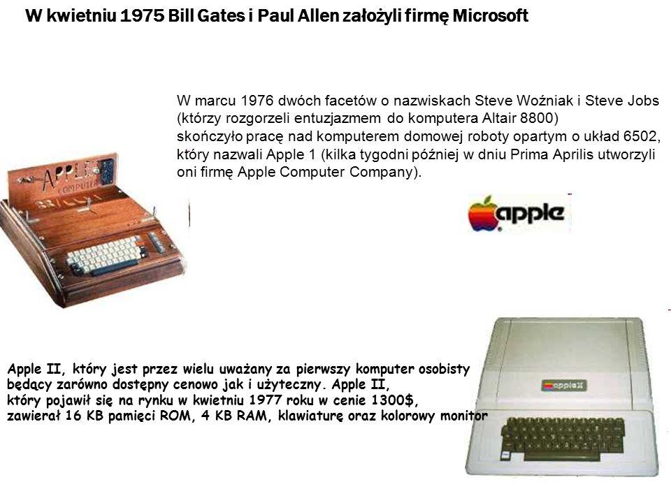 W kwietniu 1977 firma Commodore Business Machines zaprezentowała swój komputer Commodore PET, oparty na mikroprocesorze 6502, zawierający 14 KB pamięci ROM, 4KB pamięci RAM, klawiaturę, monitor oraz pamięć kasetową Dla pierwszych mikrokomputerów nie było prawie wcale żadnych programów (oprócz programów napisanych przez samych użytkowników).