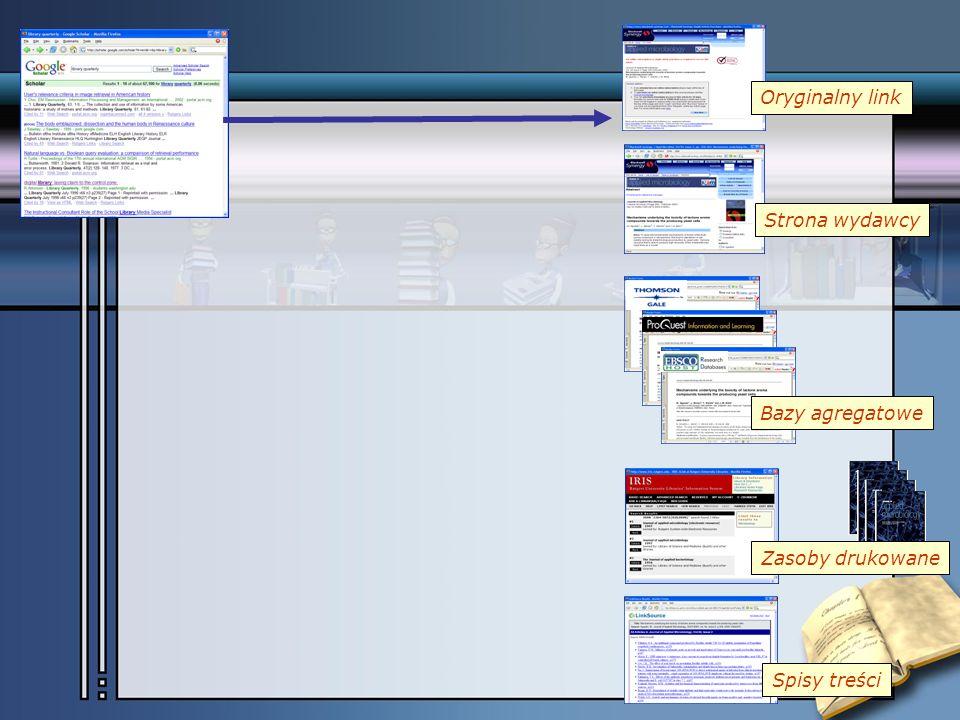 Bazy agregatowe Zasoby drukowane Spisy treści Oryginalny link Strona wydawcy