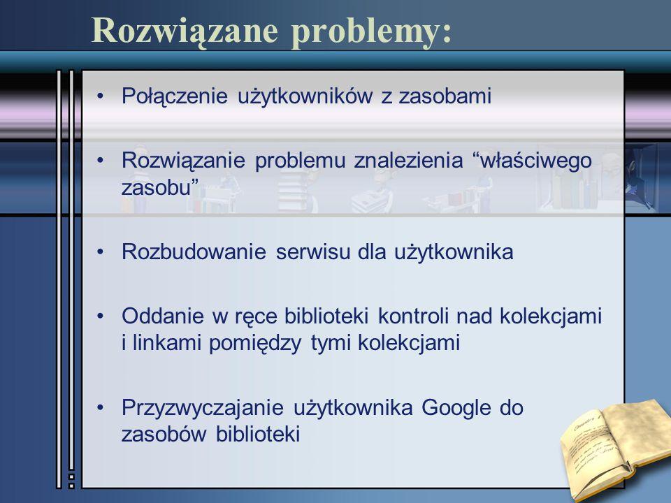 Rozwiązane problemy: Połączenie użytkowników z zasobami Rozwiązanie problemu znalezienia właściwego zasobu Rozbudowanie serwisu dla użytkownika Oddanie w ręce biblioteki kontroli nad kolekcjami i linkami pomiędzy tymi kolekcjami Przyzwyczajanie użytkownika Google do zasobów biblioteki