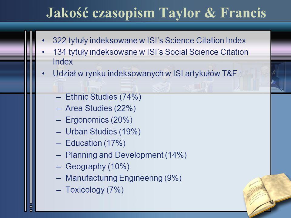 Jakość czasopism Taylor & Francis 322 tytuły indeksowane w ISI's Science Citation Index 134 tytuły indeksowane w ISI's Social Science Citation Index Udział w rynku indeksowanych w ISI artykułów T&F : –Ethnic Studies (74%) –Area Studies (22%) –Ergonomics (20%) –Urban Studies (19%) –Education (17%) –Planning and Development (14%) –Geography (10%) –Manufacturing Engineering (9%) –Toxicology (7%)
