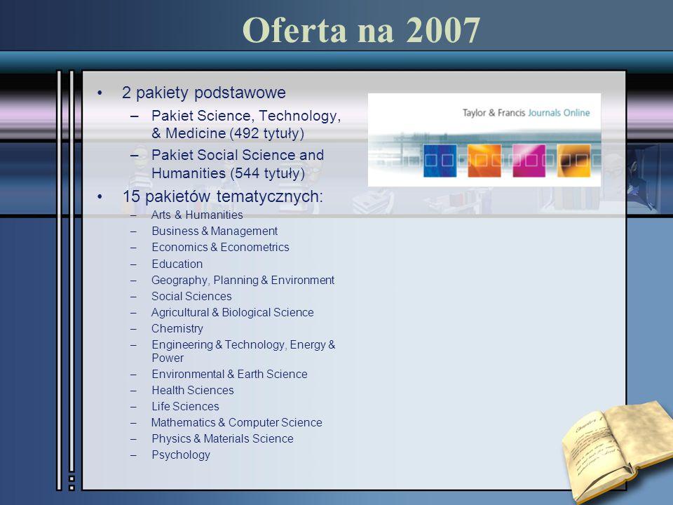 Oferta na 2007 2 pakiety podstawowe –Pakiet Science, Technology, & Medicine (492 tytuły) –Pakiet Social Science and Humanities (544 tytuły) 15 pakietó