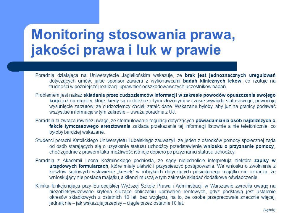 Monitoring stosowania prawa, jakości prawa i luk w prawie Poradnia działająca na Uniwersytecie Jagiellońskim wskazuje, że brak jest jednoznacznych uregulowań dotyczących umów, jakie sponsor zawiera z wykonawcami badań klinicznych leków, co rzutuje na trudności w późniejszej realizacji uprawnień odszkodowawczych uczestników badań.