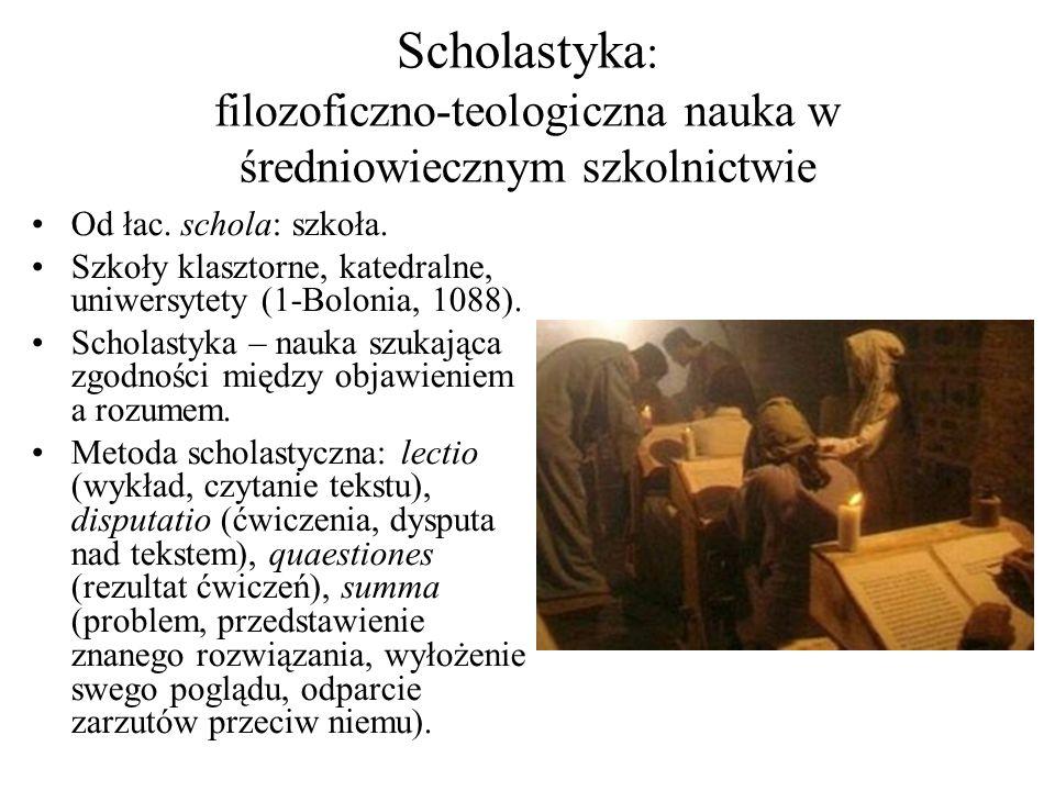 Miejsce filozofii w programie siedmiu sztuk wyzwolonych (septem artes liberales) Filozofia pod nazwą DIALEKTYKI była ogólną metodologią myślenia naukowego; pełniła 2 funkcje w relacji do teologii: instrumentalną i autonomiczną.