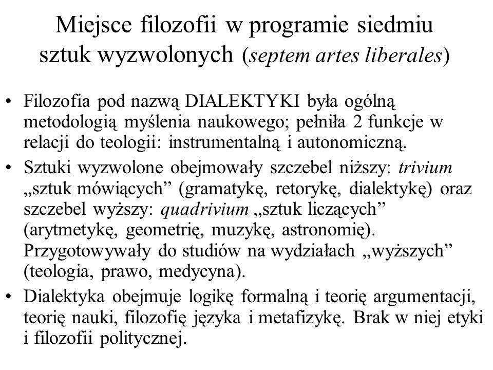Miejsce filozofii w programie siedmiu sztuk wyzwolonych (septem artes liberales) Filozofia pod nazwą DIALEKTYKI była ogólną metodologią myślenia nauko