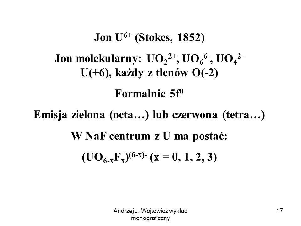 Andrzej J. Wojtowicz wyklad monograficzny 17 Jon U 6+ (Stokes, 1852) Jon molekularny: UO 2 2+, UO 6 6-, UO 4 2- U(+6), każdy z tlenów O(-2) Formalnie
