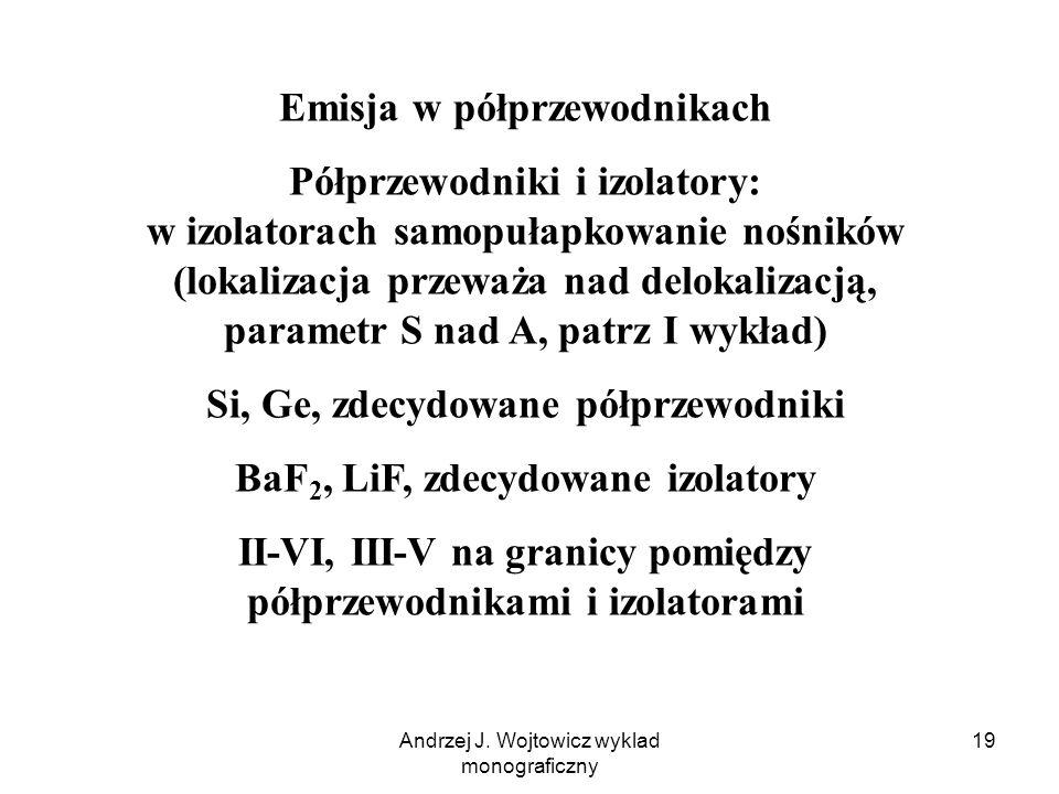 Andrzej J. Wojtowicz wyklad monograficzny 19 Emisja w półprzewodnikach Półprzewodniki i izolatory: w izolatorach samopułapkowanie nośników (lokalizacj