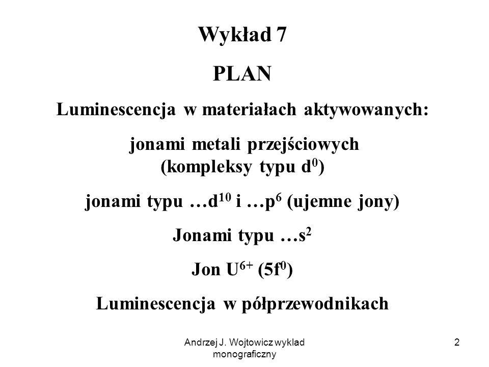 Andrzej J. Wojtowicz wyklad monograficzny 2 Wykład 7 PLAN Luminescencja w materiałach aktywowanych: jonami metali przejściowych (kompleksy typu d 0 )