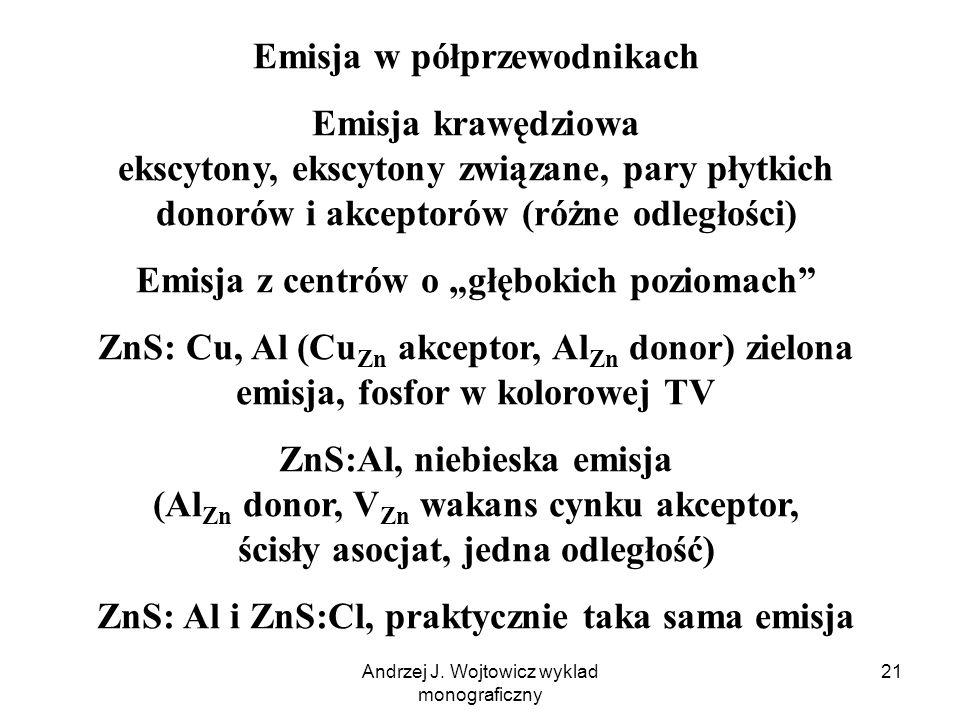 Andrzej J. Wojtowicz wyklad monograficzny 21 Emisja w półprzewodnikach Emisja krawędziowa ekscytony, ekscytony związane, pary płytkich donorów i akcep