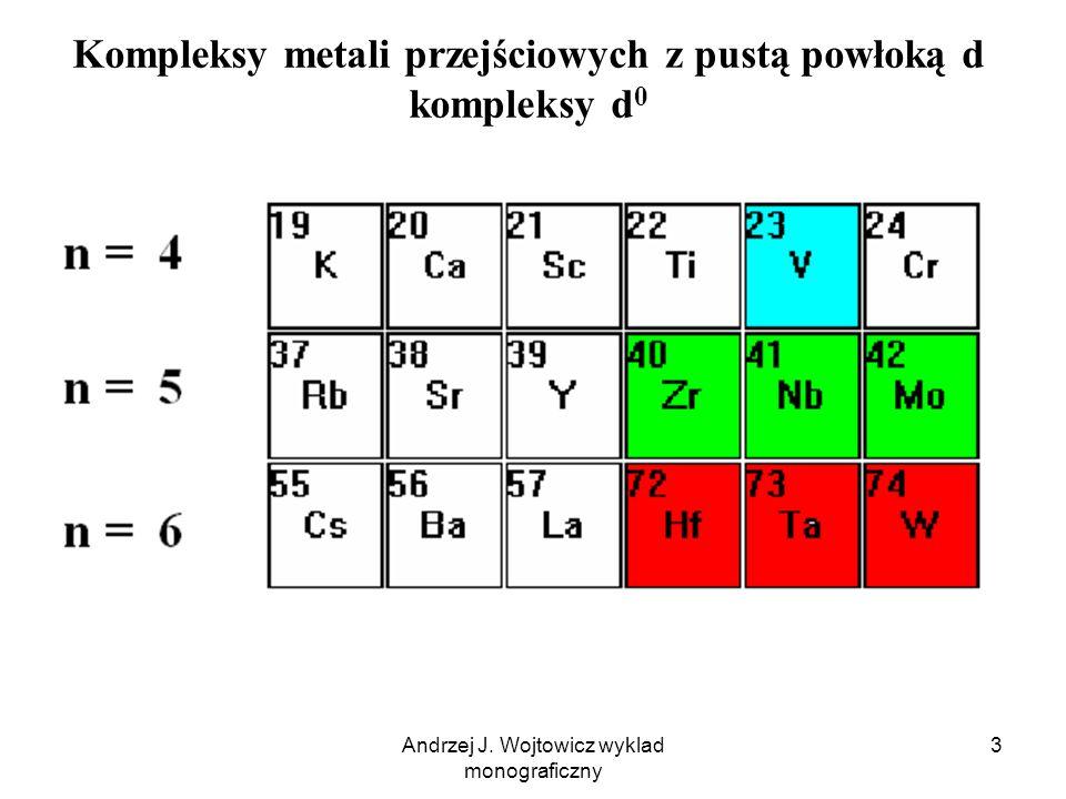 Andrzej J. Wojtowicz wyklad monograficzny 3 Kompleksy metali przejściowych z pustą powłoką d kompleksy d 0