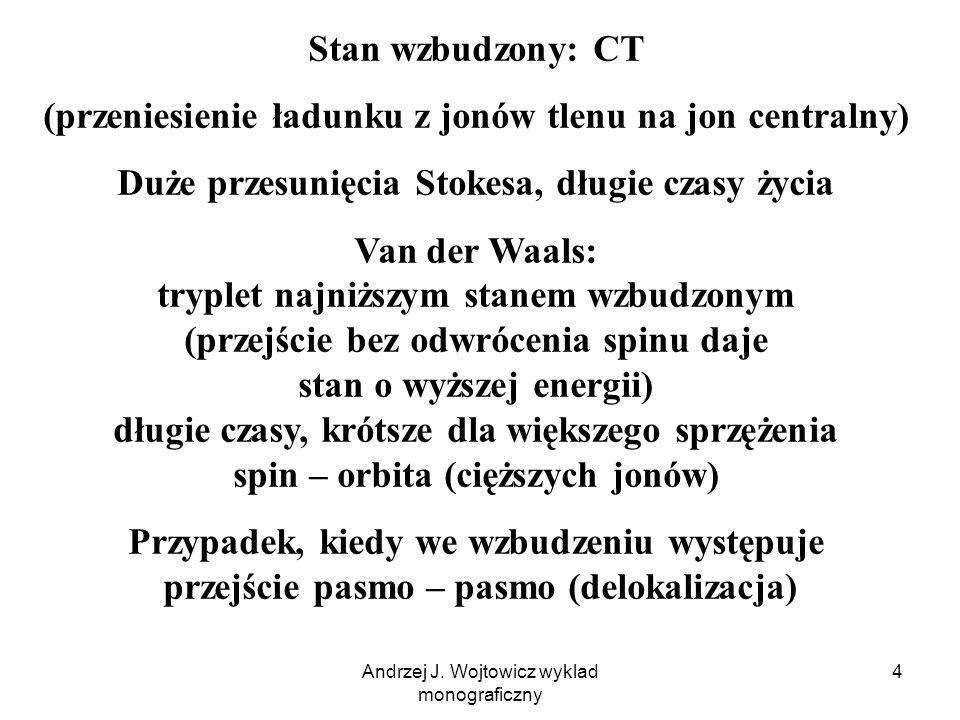 Andrzej J. Wojtowicz wyklad monograficzny 4 Stan wzbudzony: CT (przeniesienie ładunku z jonów tlenu na jon centralny) Duże przesunięcia Stokesa, długi