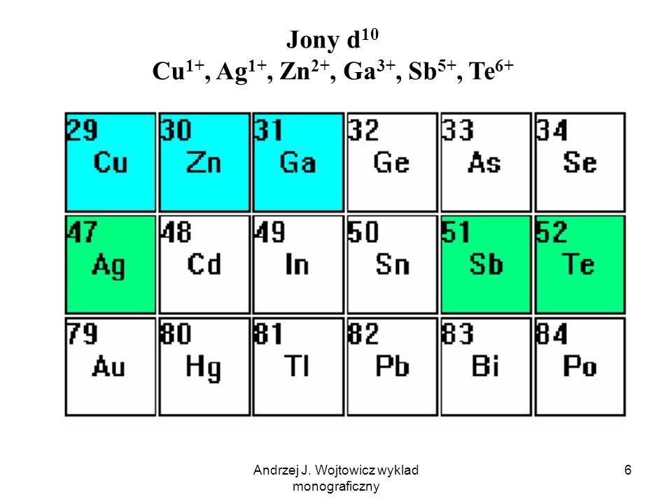 Andrzej J. Wojtowicz wyklad monograficzny 6 Jony d 10 Cu 1+, Ag 1+, Zn 2+, Ga 3+, Sb 5+, Te 6+