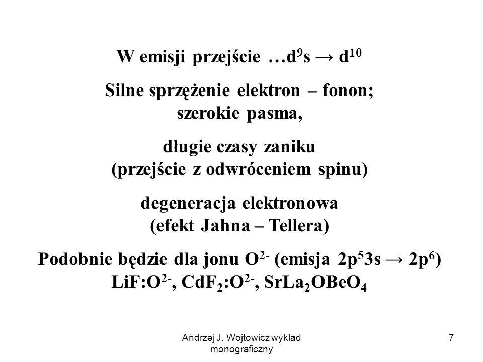 Andrzej J. Wojtowicz wyklad monograficzny 7 W emisji przejście …d 9 s → d 10 Silne sprzężenie elektron – fonon; szerokie pasma, długie czasy zaniku (p