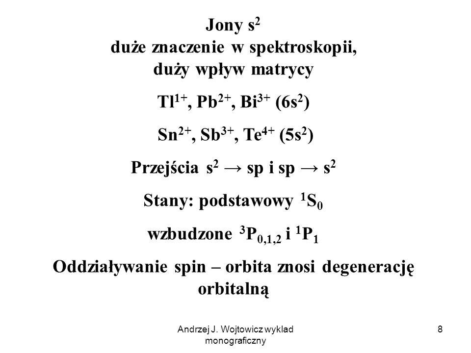 Andrzej J. Wojtowicz wyklad monograficzny 8 Jony s 2 duże znaczenie w spektroskopii, duży wpływ matrycy Tl 1+, Pb 2+, Bi 3+ (6s 2 ) Sn 2+, Sb 3+, Te 4