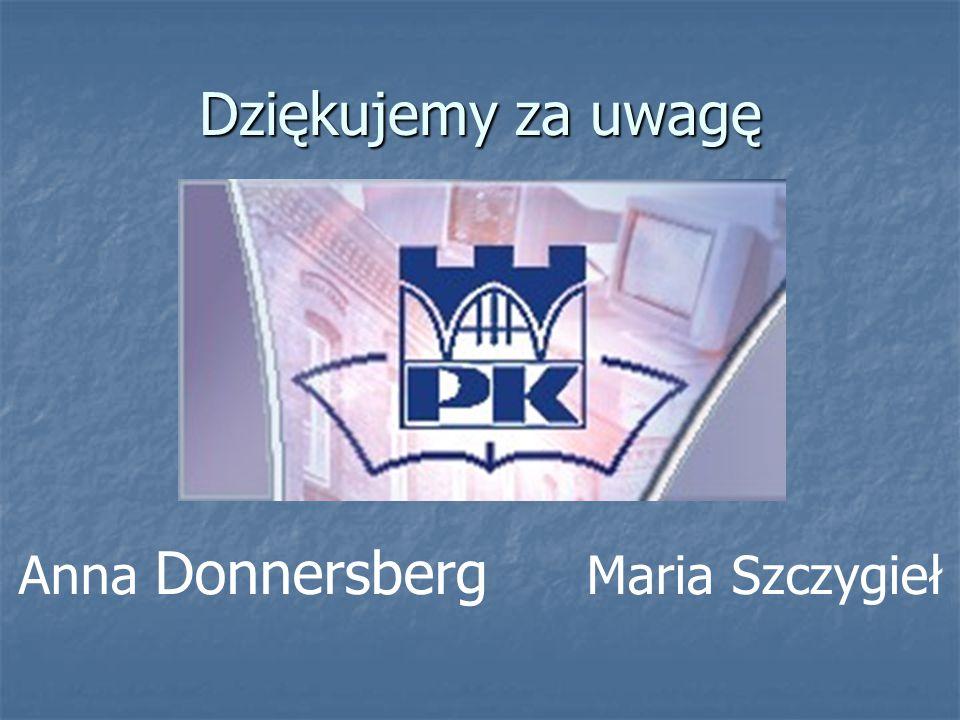 Dziękujemy za uwagę Anna Donnersberg Maria Szczygieł