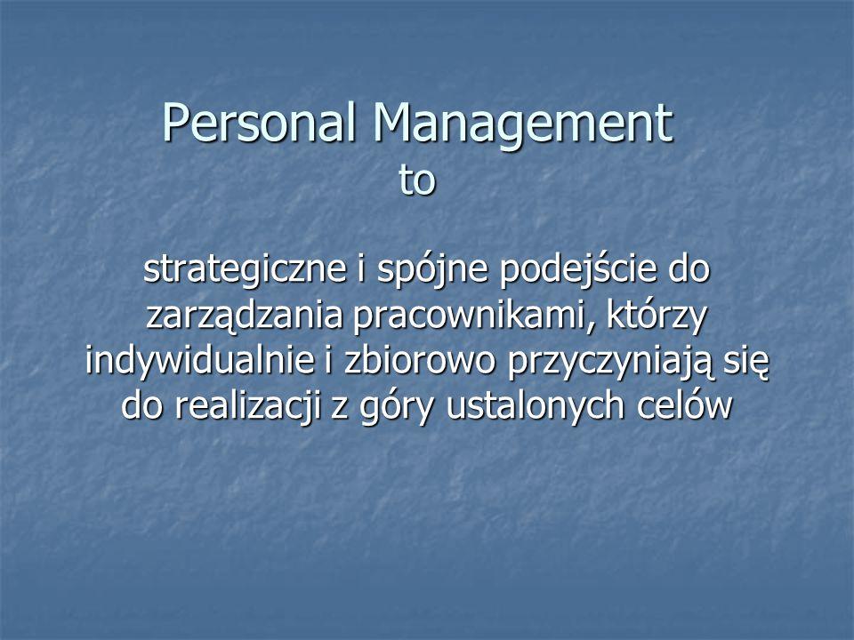 Personal Management to strategiczne i spójne podejście do zarządzania pracownikami, którzy indywidualnie i zbiorowo przyczyniają się do realizacji z g