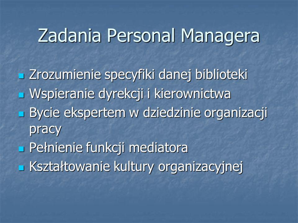 Zadania Personal Managera Zrozumienie specyfiki danej biblioteki Zrozumienie specyfiki danej biblioteki Wspieranie dyrekcji i kierownictwa Wspieranie