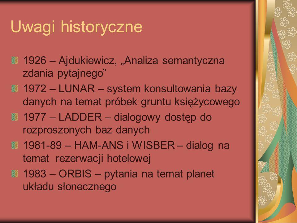 """Uwagi historyczne 1926 – Ajdukiewicz, """"Analiza semantyczna zdania pytajnego 1972 – LUNAR – system konsultowania bazy danych na temat próbek gruntu księżycowego 1977 – LADDER – dialogowy dostęp do rozproszonych baz danych 1981-89 – HAM-ANS i WISBER – dialog na temat rezerwacji hotelowej 1983 – ORBIS – pytania na temat planet układu słonecznego"""