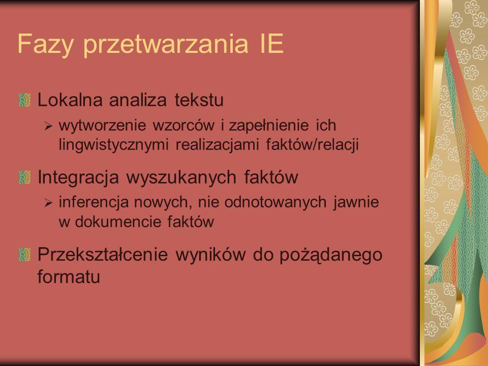 Fazy przetwarzania IE Lokalna analiza tekstu  wytworzenie wzorców i zapełnienie ich lingwistycznymi realizacjami faktów/relacji Integracja wyszukanych faktów  inferencja nowych, nie odnotowanych jawnie w dokumencie faktów Przekształcenie wyników do pożądanego formatu