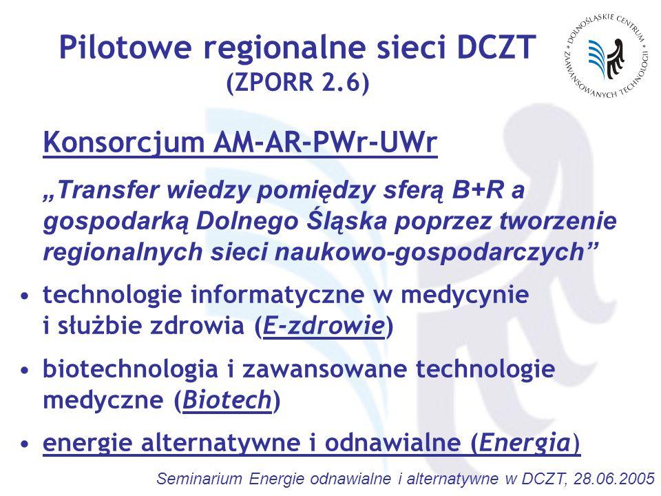 """Seminarium Energie odnawialne i alternatywne w DCZT, 28.06.2005 Pilotowe regionalne sieci DCZT (ZPORR 2.6) Konsorcjum AM-AR-PWr-UWr """"Transfer wiedzy pomiędzy sferą B+R a gospodarką Dolnego Śląska poprzez tworzenie regionalnych sieci naukowo-gospodarczych technologie informatyczne w medycynie i służbie zdrowia (E-zdrowie) biotechnologia i zawansowane technologie medyczne (Biotech) energie alternatywne i odnawialne (Energia)"""