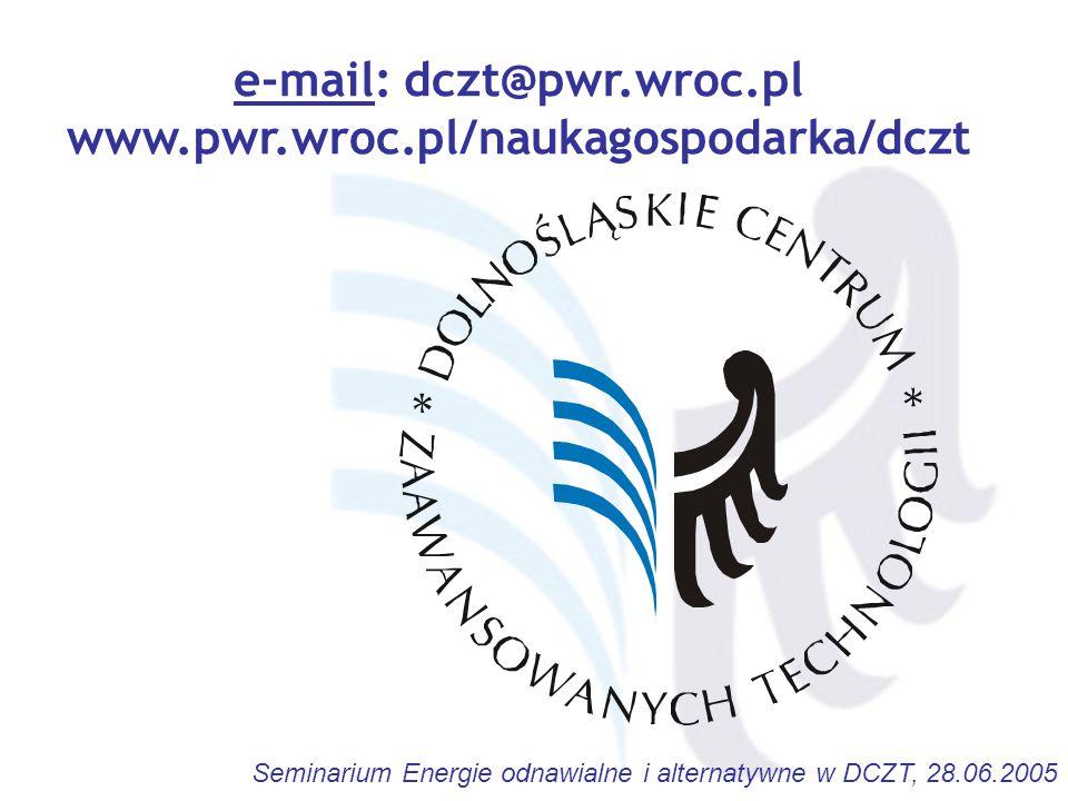 Seminarium Energie odnawialne i alternatywne w DCZT, 28.06.2005 e-mail: dczt@pwr.wroc.pl www.pwr.wroc.pl/naukagospodarka/dczt