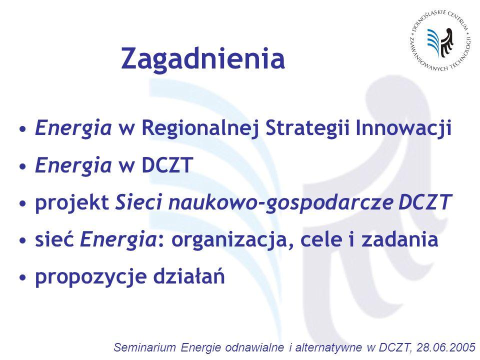 Seminarium Energie odnawialne i alternatywne w DCZT, 28.06.2005 Zagadnienia Energia w Regionalnej Strategii Innowacji Energia w DCZT projekt Sieci naukowo-gospodarcze DCZT sieć Energia: organizacja, cele i zadania propozycje działań