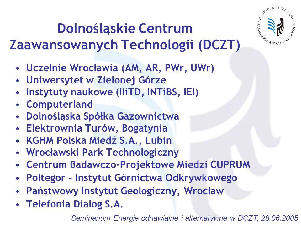 Seminarium Energie odnawialne i alternatywne w DCZT, 28.06.2005 Dolnośląskie Centrum Zaawansowanych Technologii (DCZT) Uczelnie Wrocławia (AM, AR, PWr, UWr) Uniwersytet w Zielonej Górze Instytuty naukowe (IIiTD, INTiBS, IEl) Computerland Dolnośląska Spółka Gazownictwa Elektrownia Turów, Bogatynia KGHM Polska Miedź S.A., Lubin Wrocławski Park Technologiczny Centrum Badawczo-Projektowe Miedzi CUPRUM Poltegor – Instytut Górnictwa Odkrywkowego Państwowy Instytut Geologiczny, Wrocław Telefonia Dialog S.A.