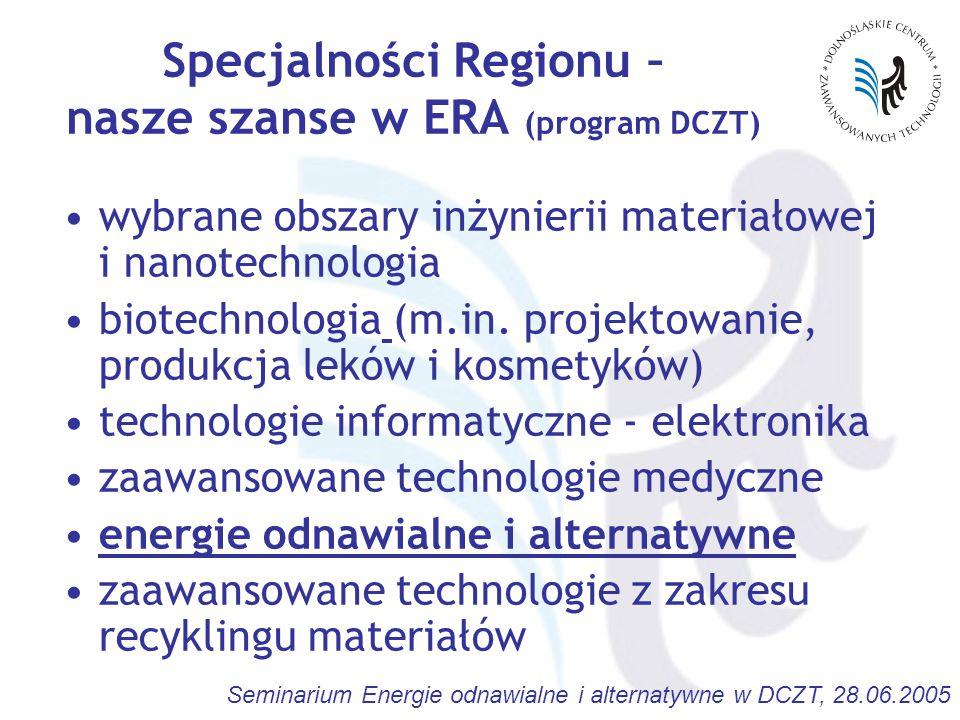 Seminarium Energie odnawialne i alternatywne w DCZT, 28.06.2005 Specjalności Regionu – nasze szanse w ERA (program DCZT) wybrane obszary inżynierii materiałowej i nanotechnologia biotechnologia (m.in.
