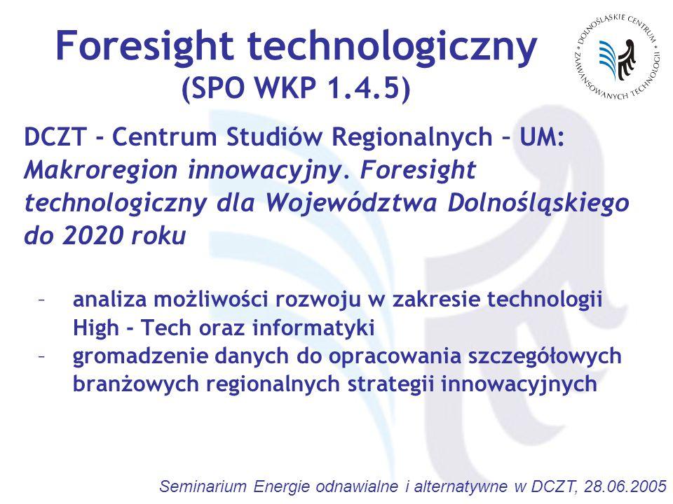 Seminarium Energie odnawialne i alternatywne w DCZT, 28.06.2005 Foresight technologiczny (SPO WKP 1.4.5) DCZT - Centrum Studiów Regionalnych – UM: Makroregion innowacyjny.