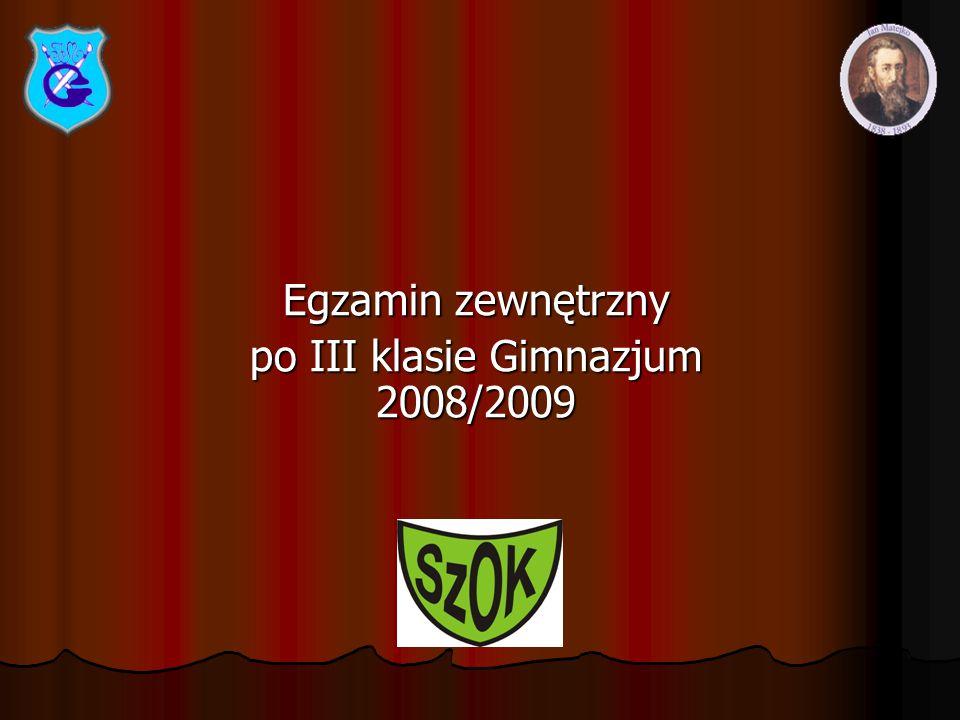 Egzamin zewnętrzny po III klasie Gimnazjum 2008/2009
