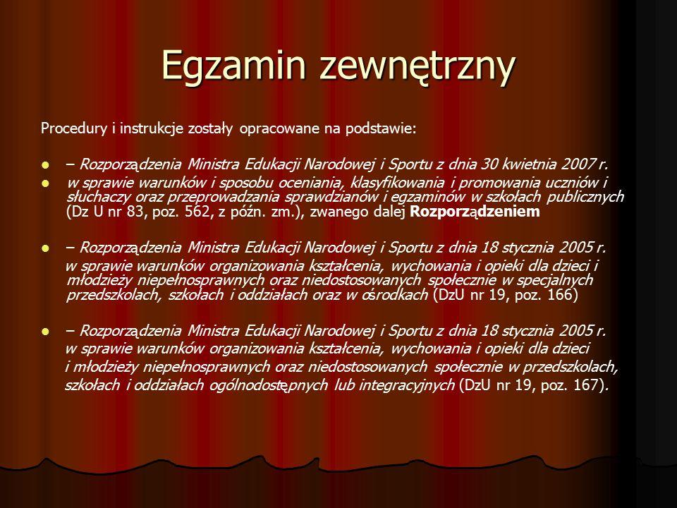 Egzamin zewnętrzny Procedury i instrukcje zostały opracowane na podstawie: – Rozporządzenia Ministra Edukacji Narodowej i Sportu z dnia 30 kwietnia 2007 r.