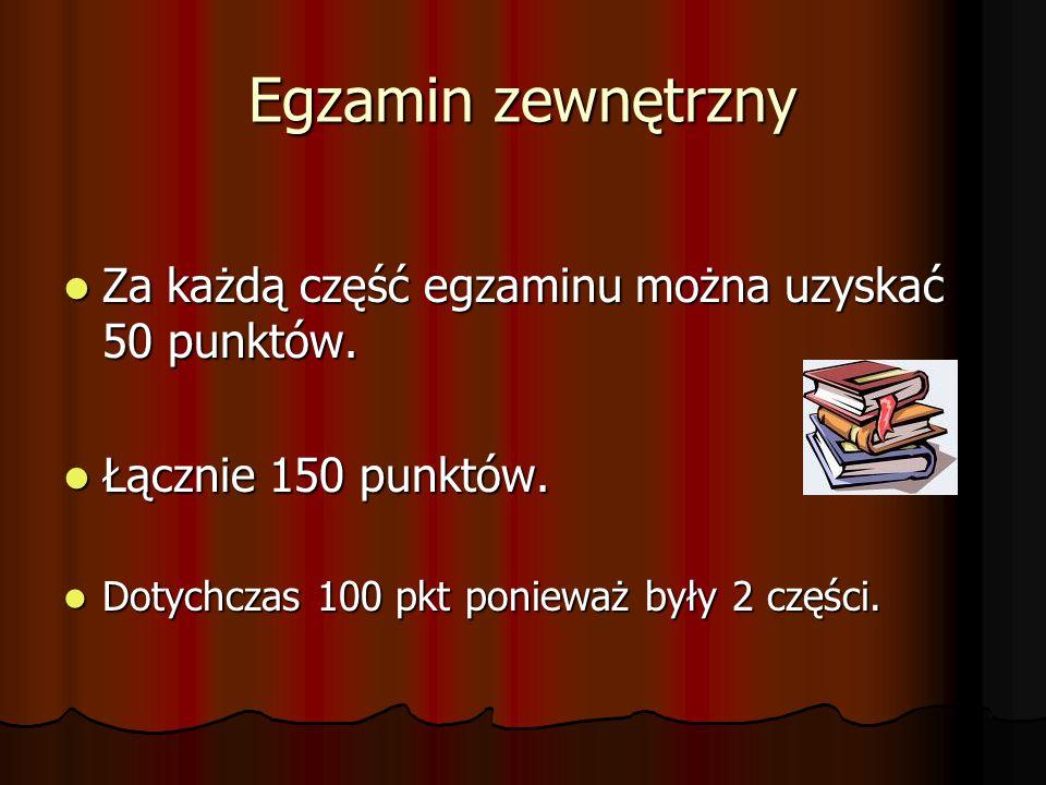 Egzamin zewnętrzny Za każdą część egzaminu można uzyskać 50 punktów.