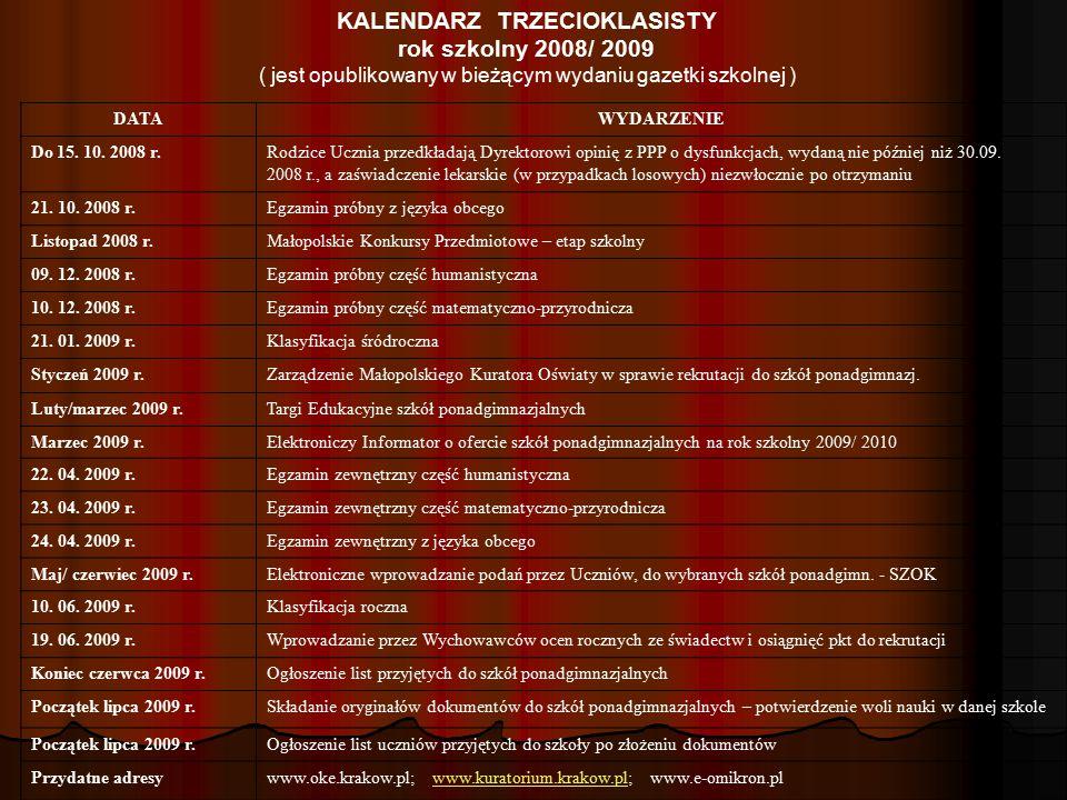 KALENDARZ TRZECIOKLASISTY rok szkolny 2008/ 2009 ( jest opublikowany w bieżącym wydaniu gazetki szkolnej ) DATAWYDARZENIE Do 15. 10. 2008 r.Rodzice Uc