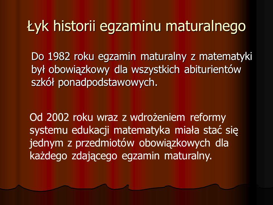 Łyk historii egzaminu maturalnego Do 1982 roku egzamin maturalny z matematyki był obowiązkowy dla wszystkich abiturientów szkół ponadpodstawowych. Od