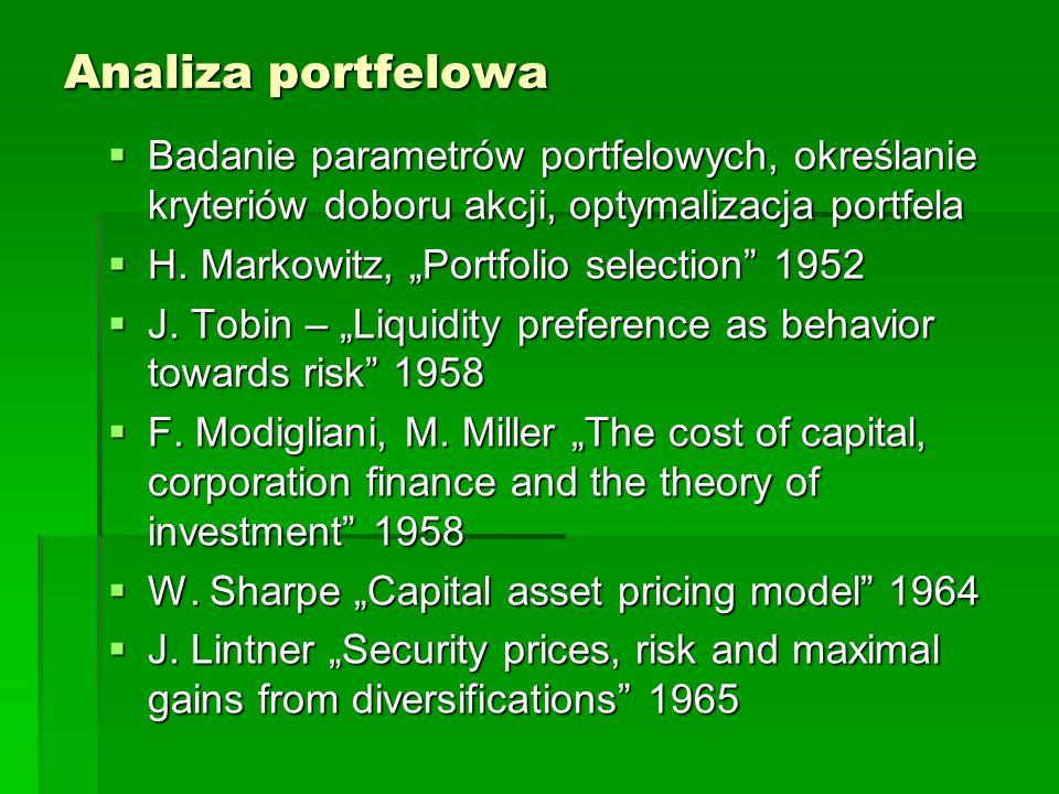 Analiza portfelowa  Badanie parametrów portfelowych, określanie kryteriów doboru akcji, optymalizacja portfela  H.
