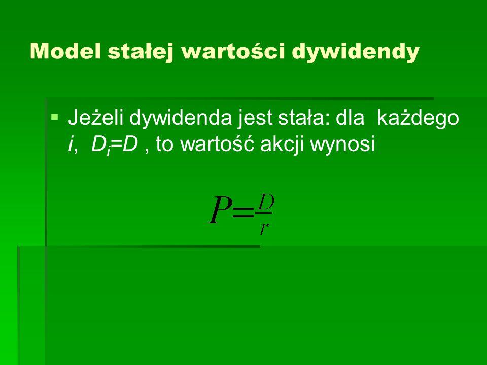 Model stałej wartości dywidendy   Jeżeli dywidenda jest stała: dla każdego i, D i =D, to wartość akcji wynosi
