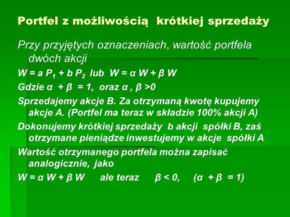 Portfel z możliwością krótkiej sprzedaży Przy przyjętych oznaczeniach, wartość portfela dwóch akcji W = a P 1 + b P 2 lub W = α W + β W Gdzie α + β = 1, oraz α, β >0 Sprzedajemy akcje B.