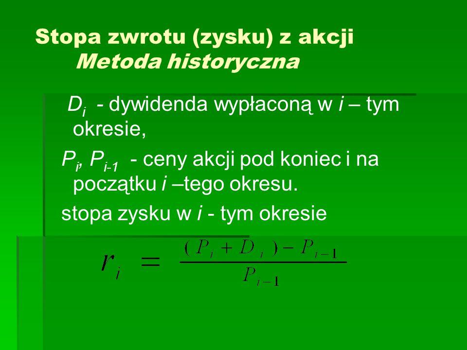 Stopa zwrotu (zysku) z akcji Metoda historyczna D i - dywidenda wypłaconą w i – tym okresie, P i, P i-1 - ceny akcji pod koniec i na początku i –tego okresu.