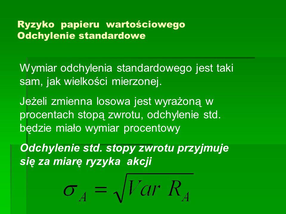 Ryzyko papieru wartościowego Odchylenie standardowe Wymiar odchylenia standardowego jest taki sam, jak wielkości mierzonej.