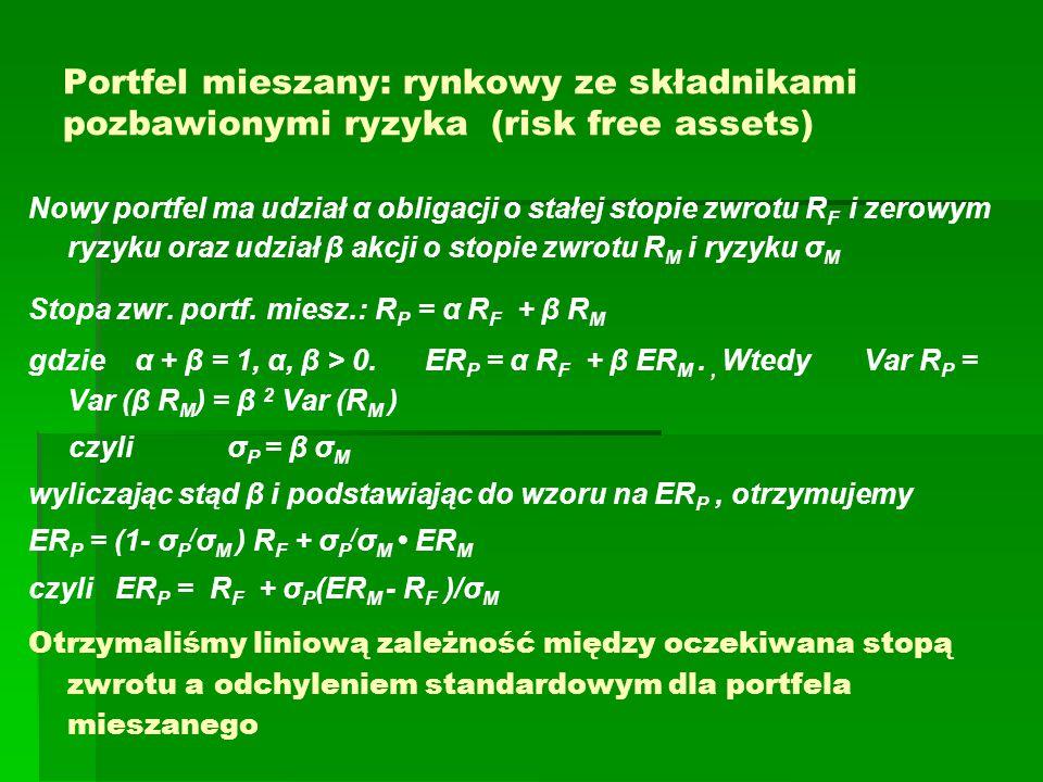 Portfel mieszany: rynkowy ze składnikami pozbawionymi ryzyka (risk free assets) Nowy portfel ma udział α obligacji o stałej stopie zwrotu R F i zerowym ryzyku oraz udział β akcji o stopie zwrotu R M i ryzyku σ M Stopa zwr.