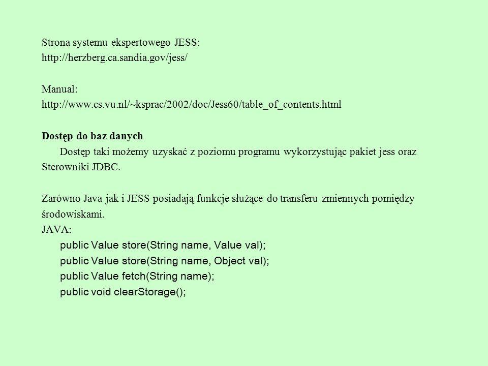 Strona systemu ekspertowego JESS: http://herzberg.ca.sandia.gov/jess/ Manual: http://www.cs.vu.nl/~ksprac/2002/doc/Jess60/table_of_contents.html Dostę