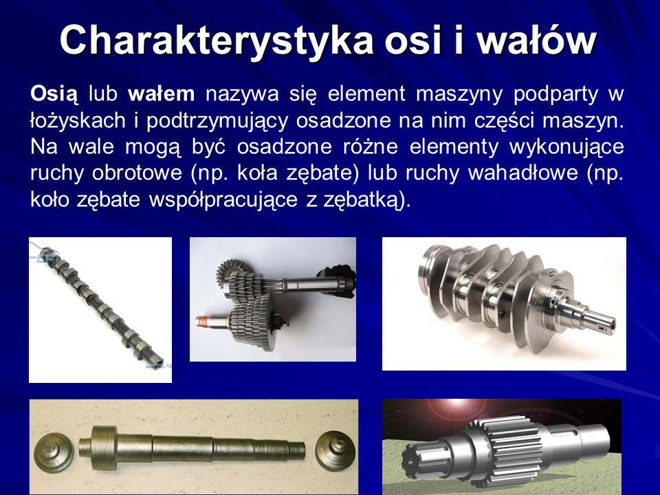 Charakterystyka osi i wałów Osią lub wałem nazywa się element maszyny podparty w łożyskach i podtrzymujący osadzone na nim części maszyn. Na wale mogą