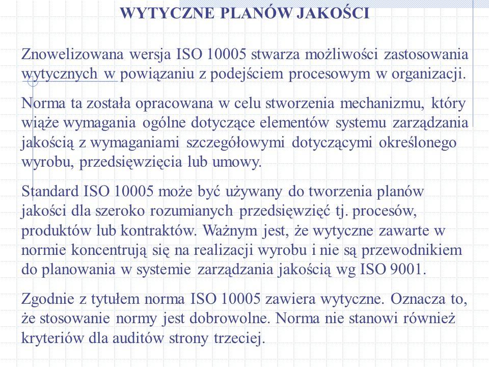 WYTYCZNE PLANÓW JAKOŚCI Znowelizowana wersja ISO 10005 stwarza możliwości zastosowania wytycznych w powiązaniu z podejściem procesowym w organizacji.