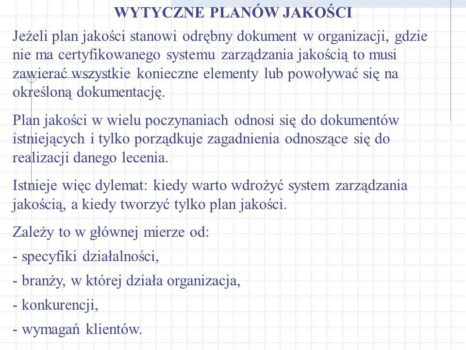WYTYCZNE PLANÓW JAKOŚCI Jeżeli plan jakości stanowi odrębny dokument w organizacji, gdzie nie ma certyfikowanego systemu zarządzania jakością to musi