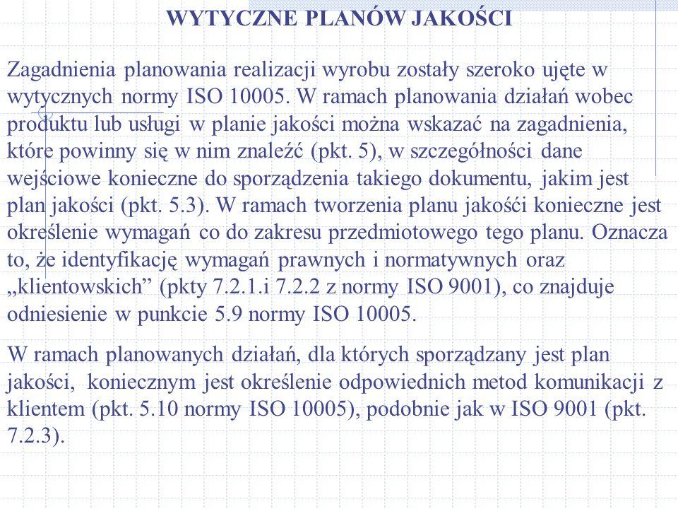 WYTYCZNE PLANÓW JAKOŚCI Zagadnienia planowania realizacji wyrobu zostały szeroko ujęte w wytycznych normy ISO 10005. W ramach planowania działań wobec
