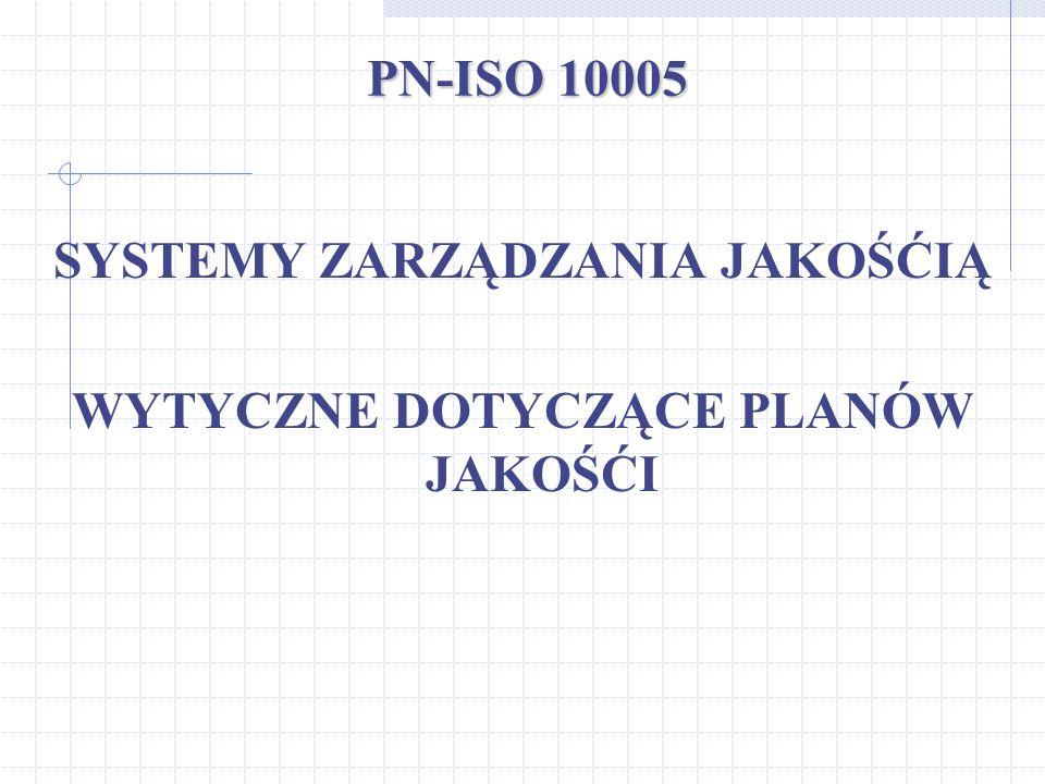 PN-ISO 10005 SYSTEMY ZARZĄDZANIA JAKOŚĆIĄ WYTYCZNE DOTYCZĄCE PLANÓW JAKOŚĆI