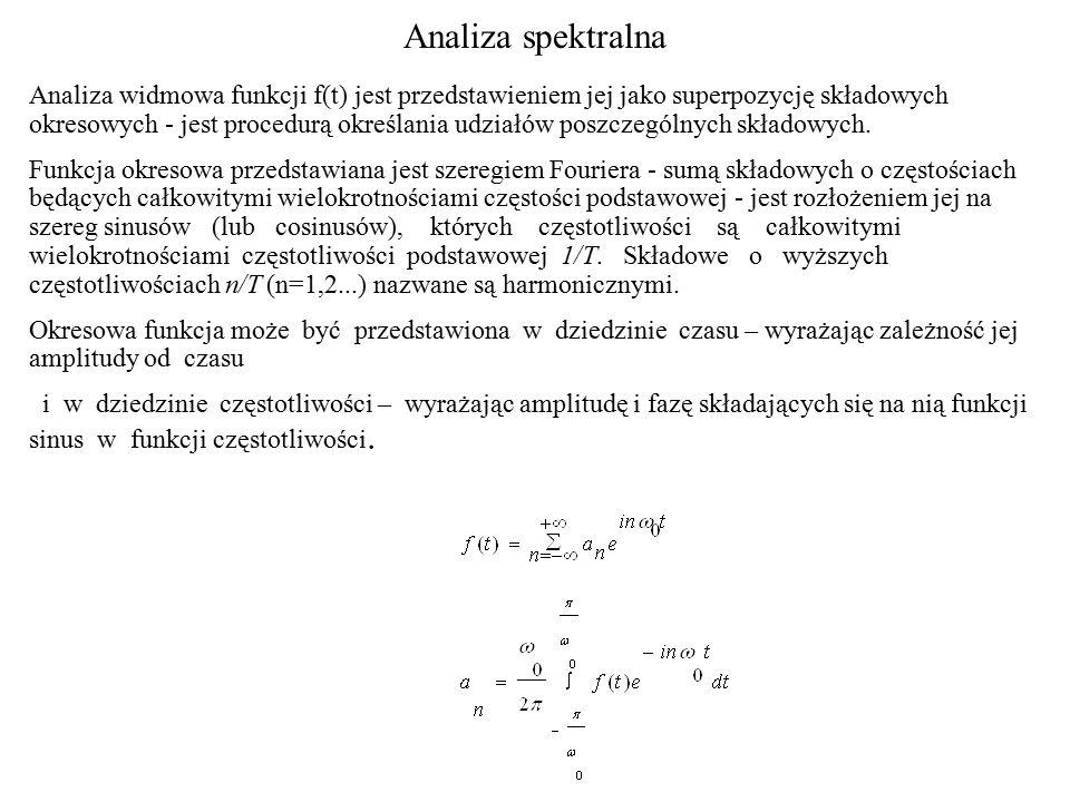 Analiza spektralna Analiza widmowa funkcji f(t) jest przedstawieniem jej jako superpozycję składowych okresowych - jest procedurą określania udziałów