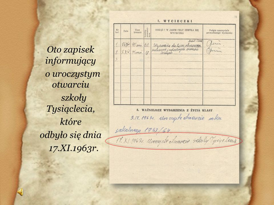 Oto zapisek informujący o uroczystym otwarciu szkoły Tysiąclecia, które odbyło się dnia 17.XI.1963r.