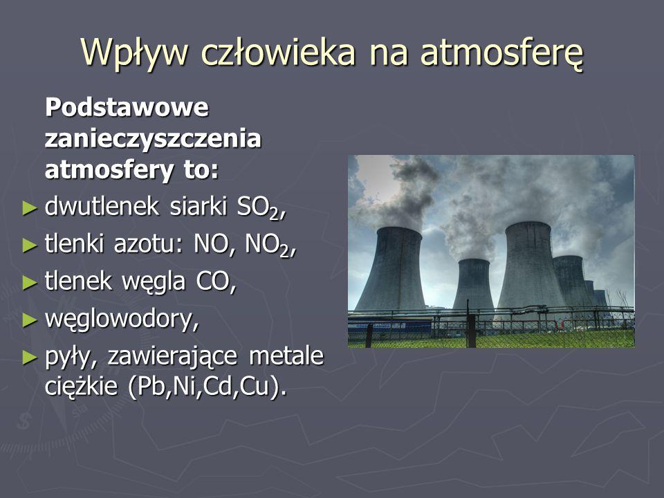 Wpływ człowieka na atmosferę Podstawowe zanieczyszczenia atmosfery to: ► dwutlenek siarki SO 2, ► tlenki azotu: NO, NO 2, ► tlenek węgla CO, ► węglowo